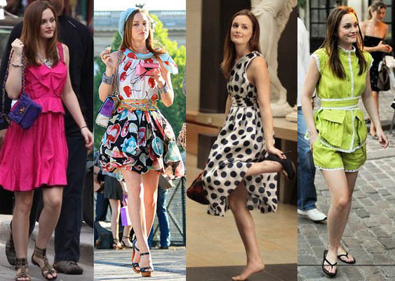 Blake Lively and Leighton Meester on the set of Gossip Girl filming ...
